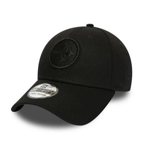 NEW ERA 39THIRTY BASEBALL CAP.PITTSBURGH STEELERS OFFICIAL TEAM BLACK HAT 9S2 55